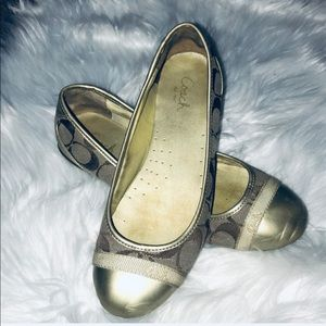 COACH CECILE Canvas Gold Cap Toe Ballet Flats 7